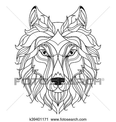 clipart of wolf head zentangle stylized coloring page k39401171