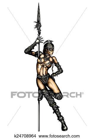 戦士 女 ストリップ イラスト K24708964 Fotosearch