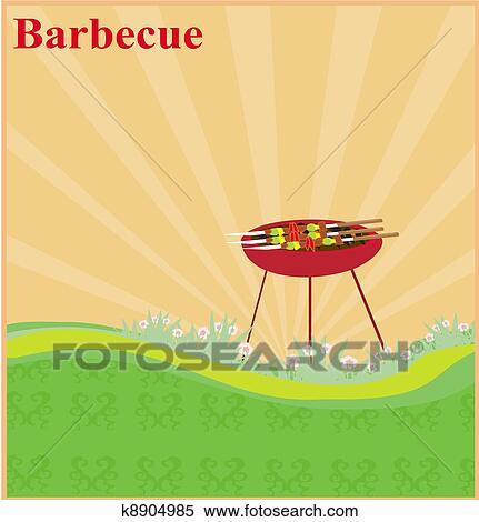 Barbecue Party Invitation Stock Ilration K8904985