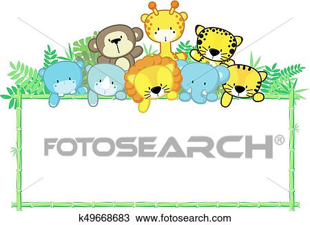 Cute Baby Animals Jungle Frame Clipart