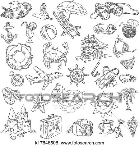Clip Art Of Freehand Drawing Summer Vacation K17846508