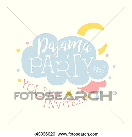 clipart of girly pajama party invitation card template with cloud