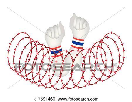 Clipart - menschliche hand, geballte faust, nach, draht, sperre ...