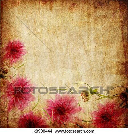 Drawings Of Old Paper Background With Pink Flowers K8908444 Search