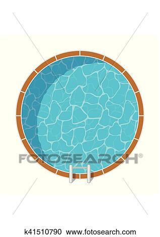 Clipart piscine vue dessus ensemble isol blanc - Clipart piscine ...
