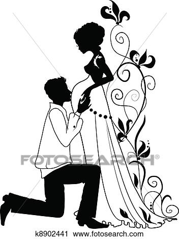 Clipart Of Silhouette Of Pregnant Woman And Man K8902441
