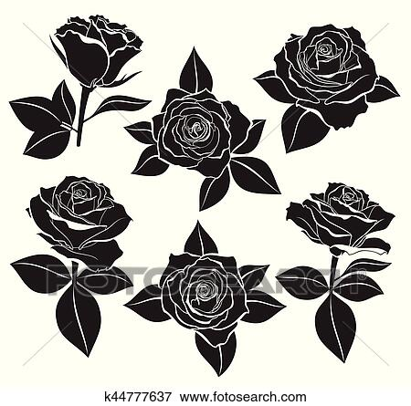 Vector Set Of Rose Buds Stems And Leaves With White Contour Line