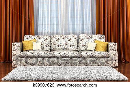 Disegno bello soggiorno con sofà bianco contro il finestra