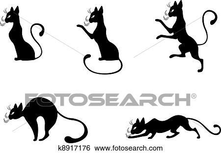 Dessin Chat De Profil clipart - chat noir, profil k8917176 - recherchez des cliparts, des