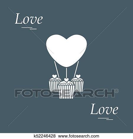 Clip Art Of Cute Vector Illustration Of Love Symbols Heart Air