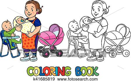 Funny nanny with children. Coloring book. Clip Art