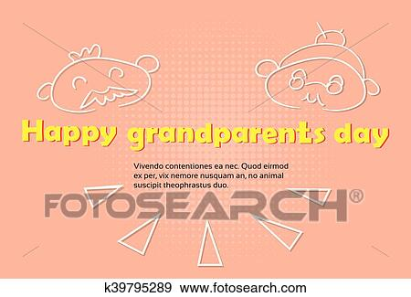 Clip art of grandfather with grandmother happy grandparents day clip art grandfather with grandmother happy grandparents day greeting card banner fotosearch search m4hsunfo