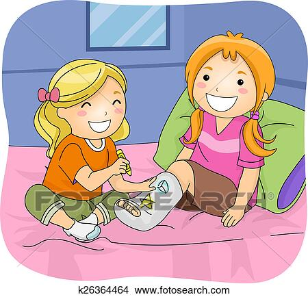 Drawings Of Kid Girls Coloring Cast K26364464 Search Clip Art