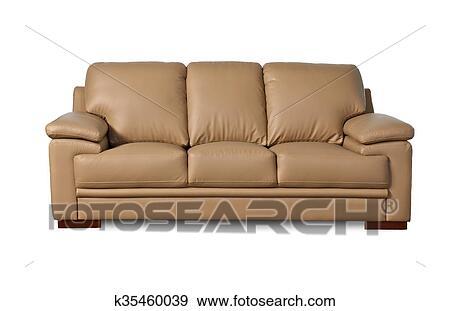 Light Brown Leather Sofa On White Background Stock Photo K35460039