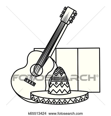 Mexican Mariachi Hat With Guitar And Flag Clipart