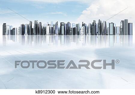 Hazır Ilüstrasyonlar Modern şehir Arka Plan K8912300 Clipart