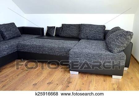 Divano Nero Moderno : Immagini moderno nero bianco stoffa divano con cuoio nero