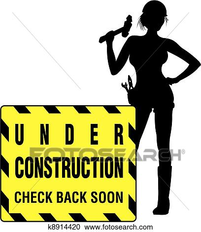 clipart of under construction working girl k8914420 search clip rh fotosearch com