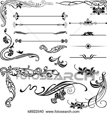 clipart of art nouveau corners and dividers k8922540 search clip rh fotosearch com art nouveau flower clipart art nouveau clipart borders