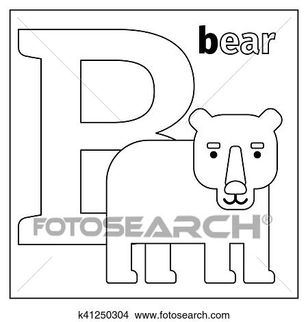 Coloring Page Or Card For Kids With English Animals Zoo Alphabet Bear Letter B Vector Illustration