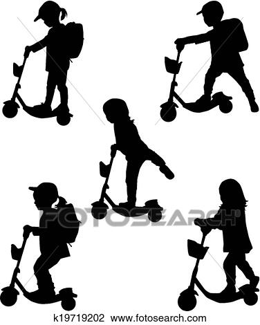 Clipart Of Child On Scooter