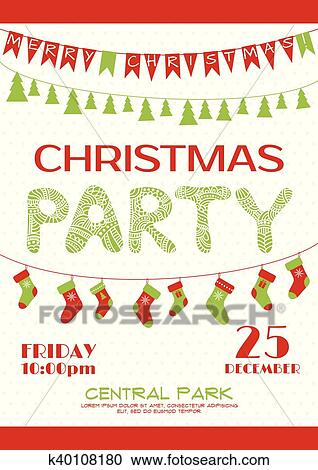 Christmas Party Images Clip Art.Christmas Party Invitation Poster Template Clipart