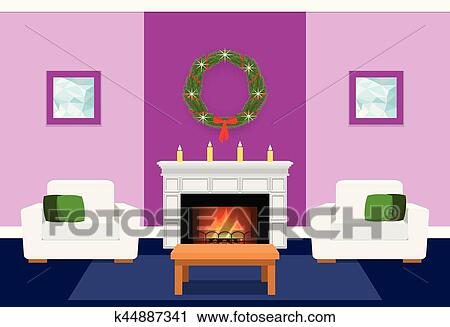 Living Room Interior With Fireplace Flat Vector