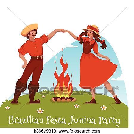 Menina E Menino Dancar Em Brasileiro Festa Junina Partido