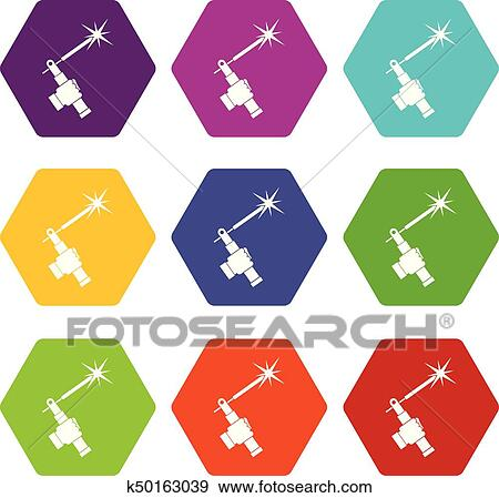 Mig Welding Torch In Hand Icon Set Color Hexahedron Clip Art K50163039 Fotosearch
