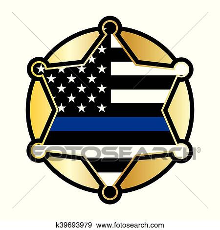 clip art of police support star and flag emblem k39693979 search