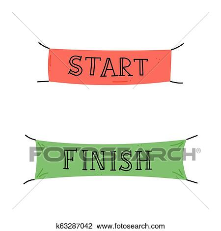 Start And Finish Banner Clipart K63287042 Fotosearch
