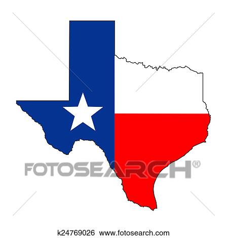 Stock Illustration Of Texas Flag Map K24769026