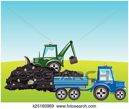 Clip art traktor bagger lasten boden k25160969 for Boden clipart
