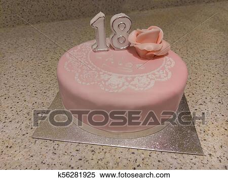 Outstanding 18Th Birthday Cake Stock Photography K56281925 Fotosearch Personalised Birthday Cards Veneteletsinfo