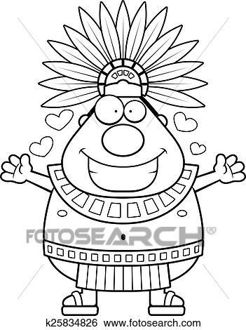 Clip Art Of Cartoon Aztec King Hug K25834826