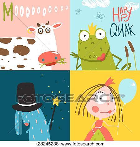 Colorito Divertimento Cartone Animato Mano Disegnato Animali