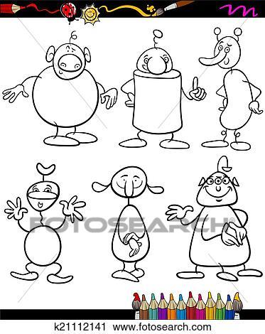 Clipart - extranjeros, conjunto, caricatura, libro colorear ...