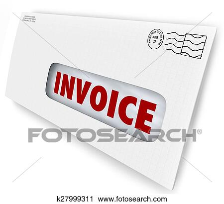 Clipart Of Invoice Bill Due Mailed Letter Envelope Notice Reminder