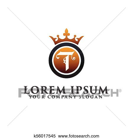 clipart luxury letter t with crown logo design concept template fotosearch search clip