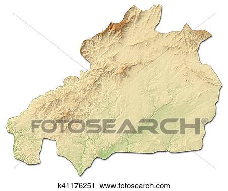 Mapa Reducao Castelo Branco Portugal 3d Rendering