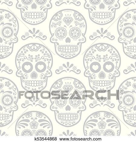 Clip Art - mexicano, azúcar, cráneo, vector, seamless, patrón ...