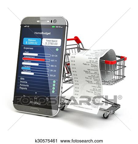 8f1788f44 Clip Art - Mobile home budget application concept. Smartphone with shopping  cart.. Fotosearch