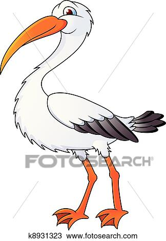 Clipart rigolote cigogne dessin anim k8931323 recherchez des clip arts des illustrations - Cigogne dessin ...