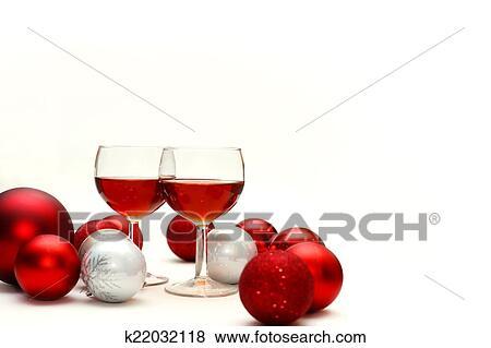 Kerstdecoraties Met Rood : Beelden rode wijn en kerst decoraties k22032118 zoek stock