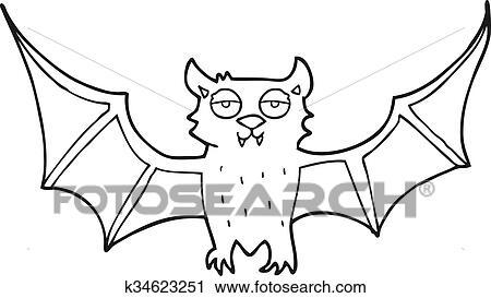 Clipart - schwarz weiß, karikatur, halloween fledermaus k34623251 ...