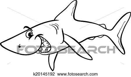 Clipart of shark animal cartoon coloring book k20145192 - Search ...