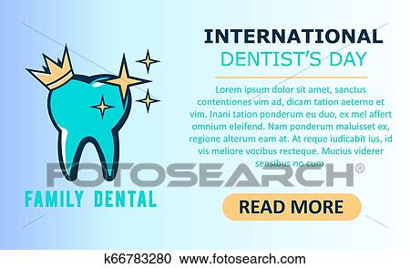 World Dentist Day Vector Illustration Of Logo Tooth Stomatology Banner Clipart K66783280 Fotosearch