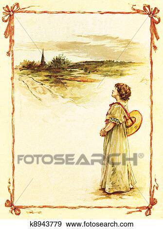 イラスト 女の子 中に A 田舎 K8943779 ベクトルクリップアート