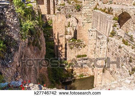 Ancient Pool of Bethesda ruins  Old City Jerusalem, Israel  Stock Image