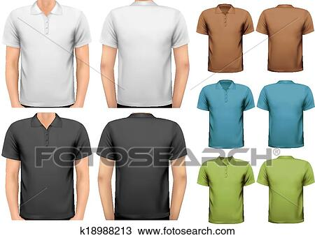 Clipart Of Black And White And Color Men T Shirts Design Template